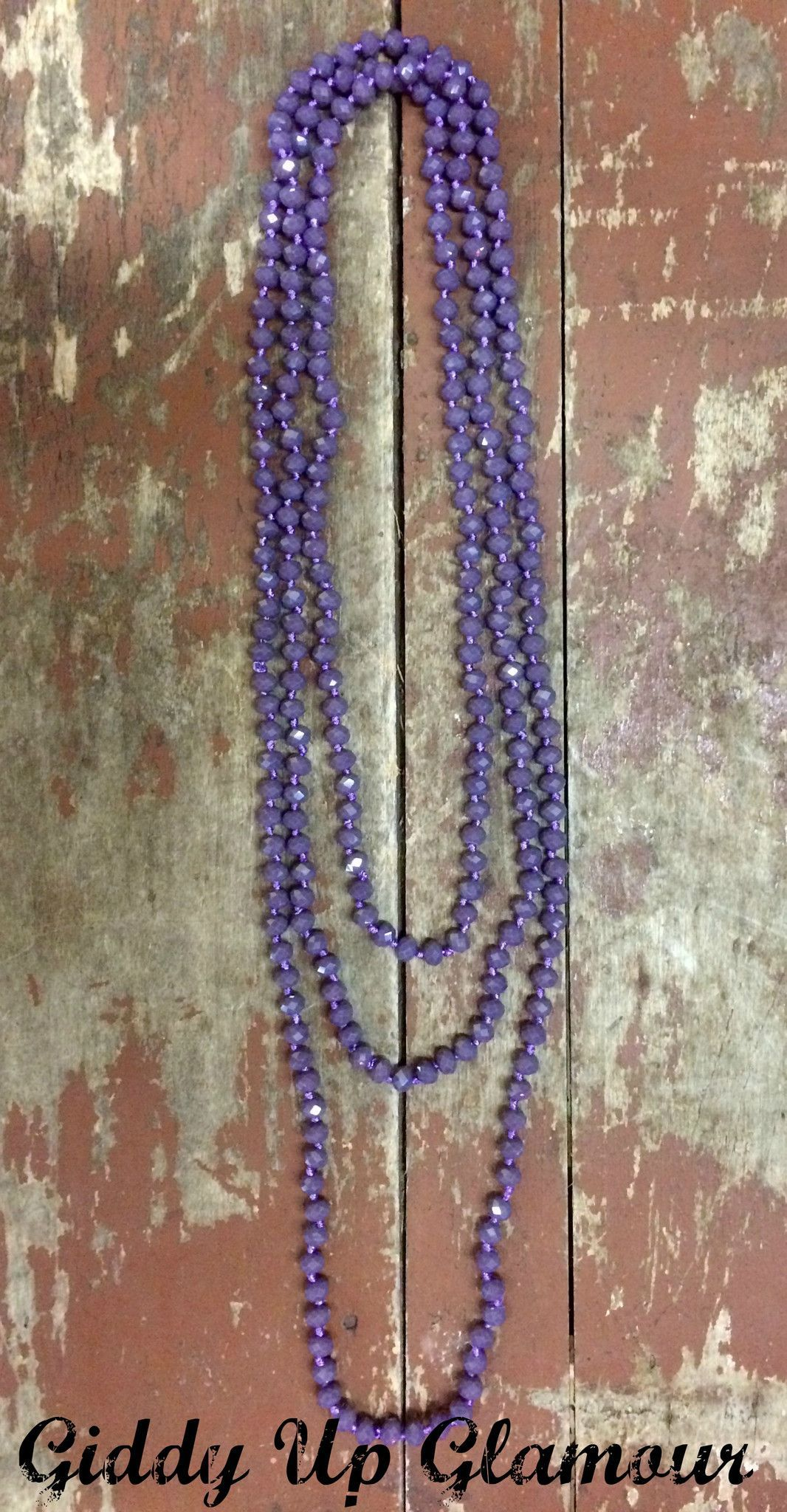 80 Inch Long Strand Crystal Necklace in Plum