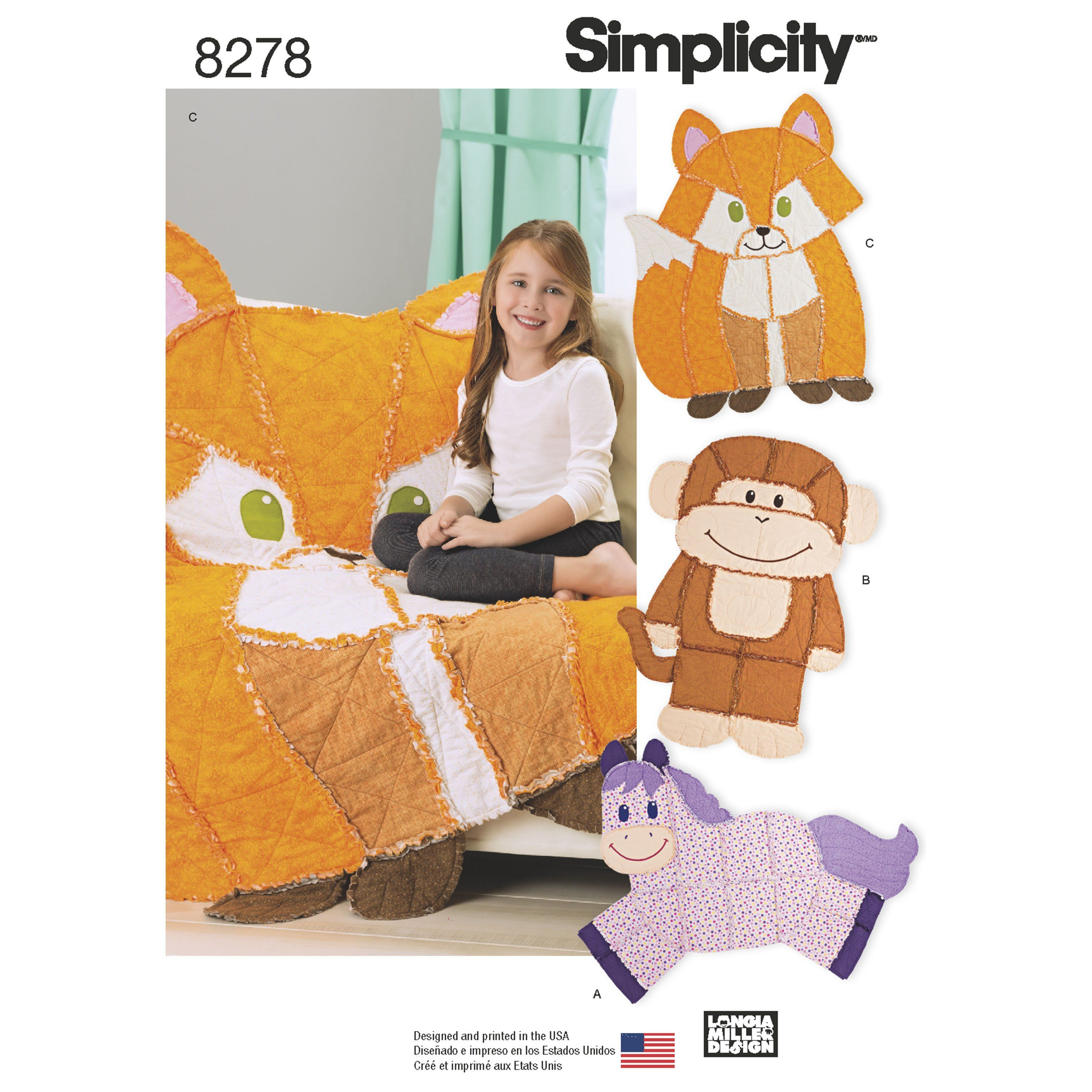 One Size One Size ONE Size Simplicity Creative Patterns Simplicity Pattern 8278 Animal Rag Quilts OS
