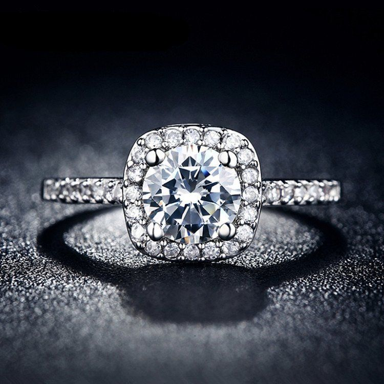Dazzling Halo 2 CT Simulated Diamond Ring