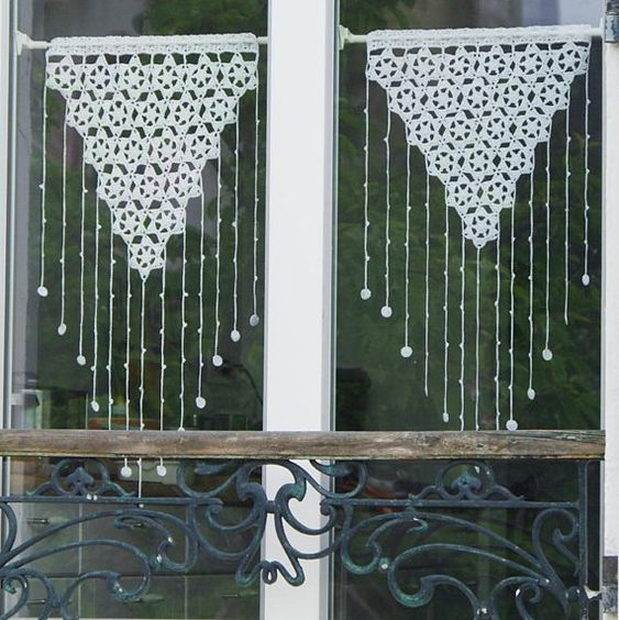 crochet pattern crochet lace curtain curtains valance. Black Bedroom Furniture Sets. Home Design Ideas