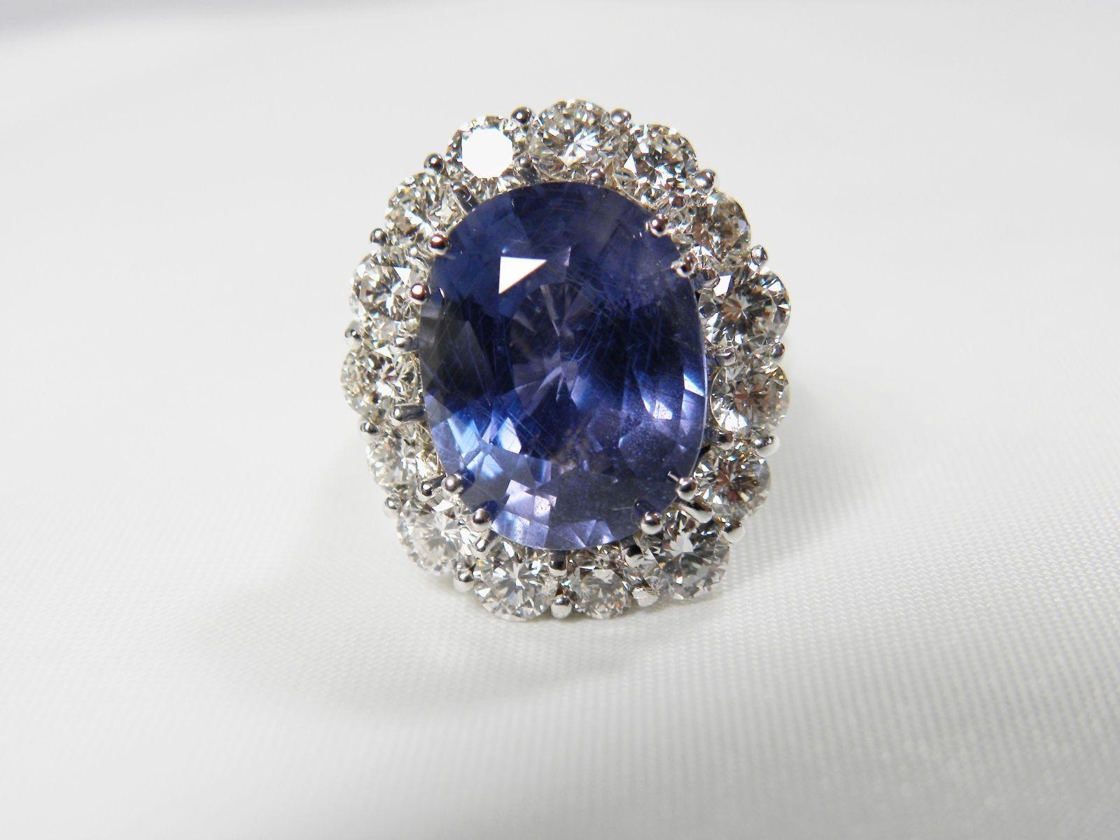 GIA 16 00CT Certified Untreated Blue Sapphire Diamond Ring 18K White