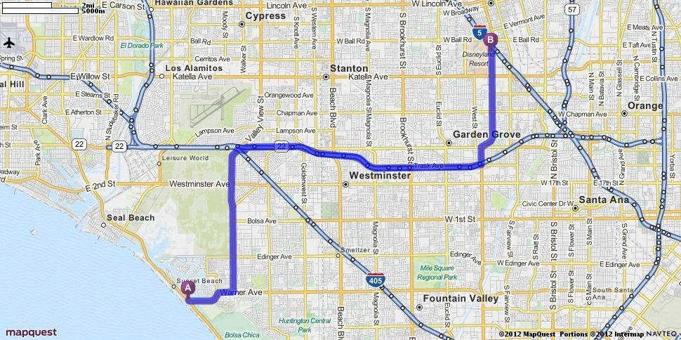 Driving Directions from Bolsa Chica SB Campground to Disneyland in