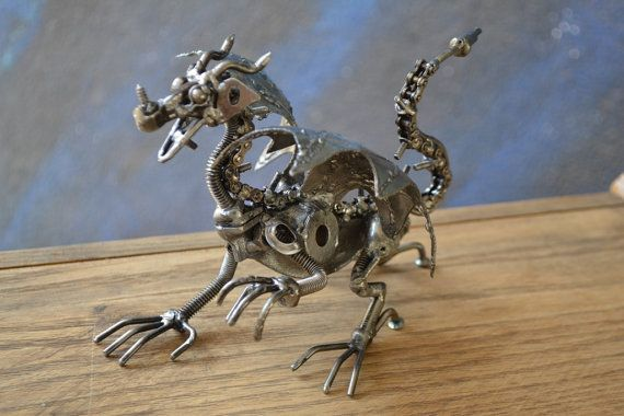 Hand Made DRAGON 7 Inches Recycled Scrap Metal by ScrapSculptures, $45.00