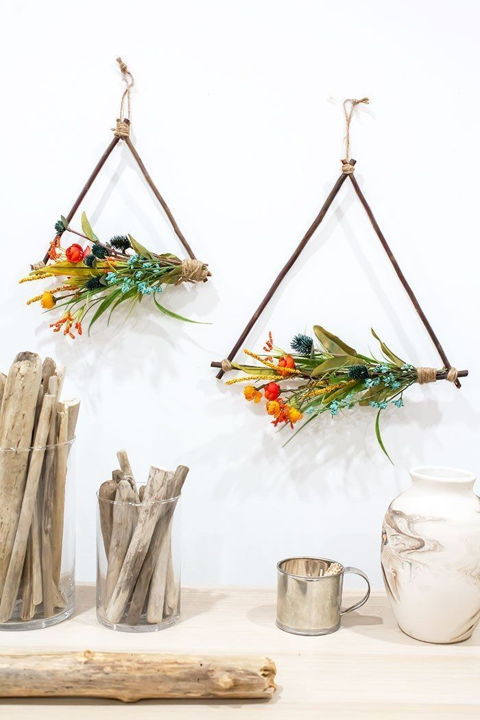 DIY Twig Triangle Wreaths - A Pretty Fix