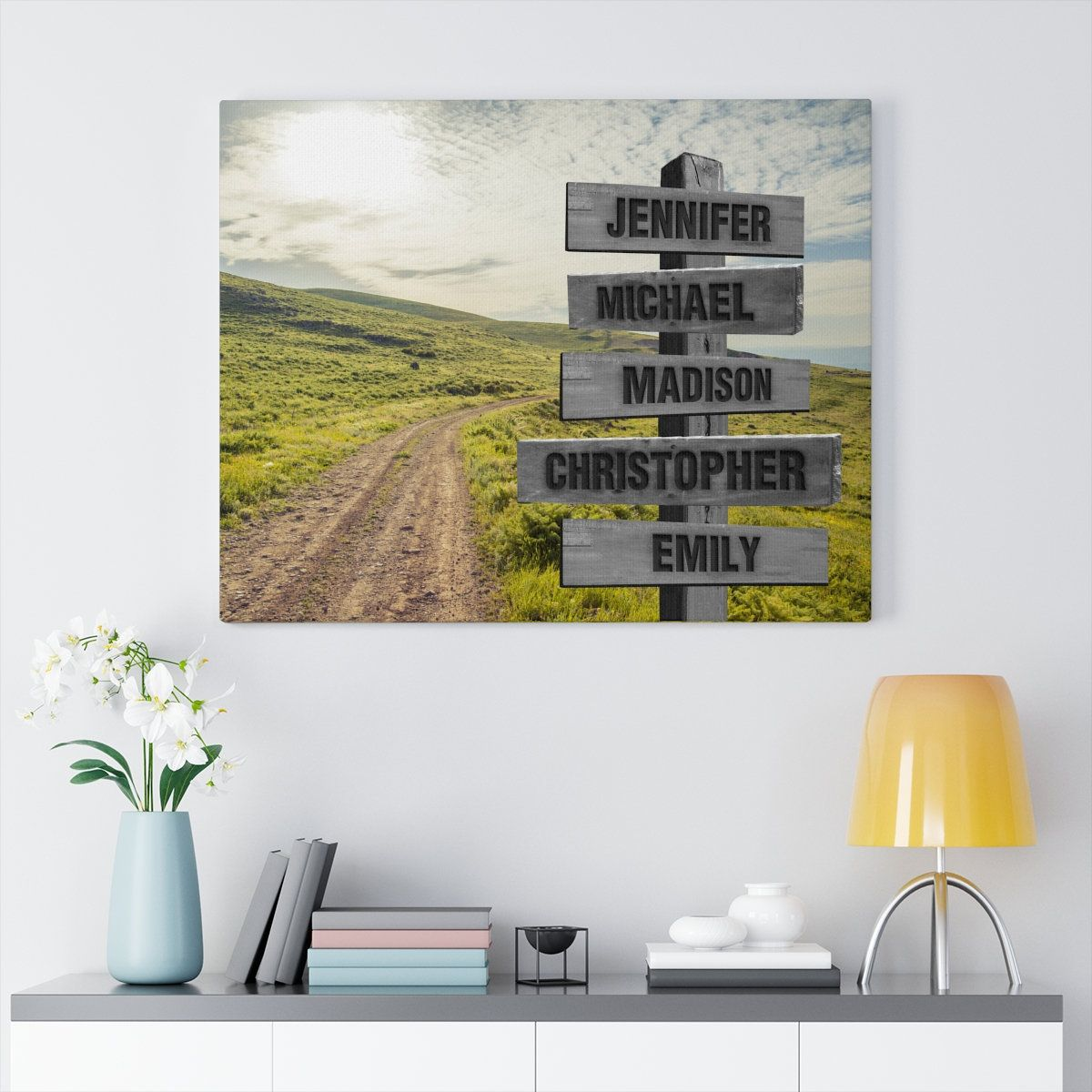 Custom Family Name Country Road Canvas Multi Names Crossroad Canvas Family Name Wall Art Personalized Canvas Gifts Name Wall Art Name Canvas Custom Canvas