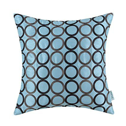 CaliTime Contempo Decorative Throw Pillow Cushion Covers Pillowcase Shell Faux Silk Two-tone Circles Rings Chain Embroidered 18 X 18 Inches Light Blue