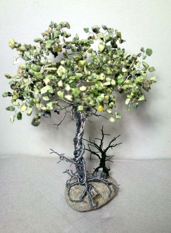 Wire tree sculpture / coil stone / stone tree of art / original gift ...