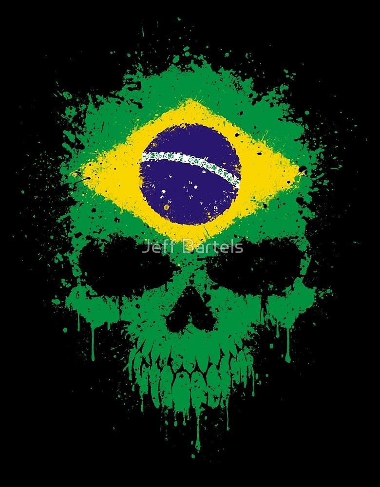 Brazilian Flag Splatter Skull Papel De Parede Do Exercito Arte