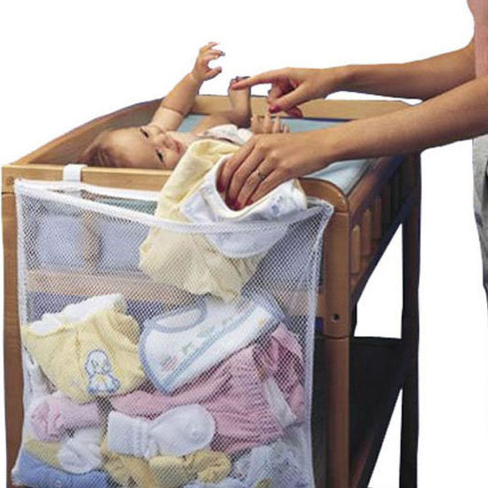 keep your dirty baby clothes in one spot in our hanging mesh storage