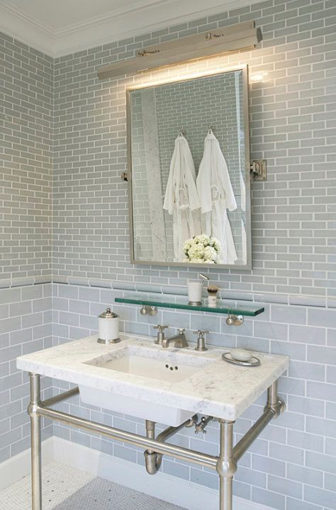 source mabley handler amazing bathroom with blue glass subway tiles backsplash polished nickel picture - Bathroom Subway Tile Backsplash