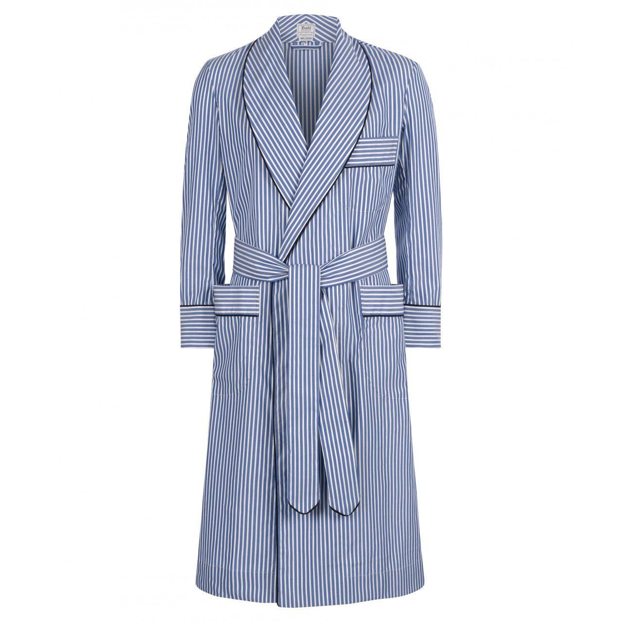 Edwardian Blue Budd Stripe Cotton Dressing Gown - Men's ...