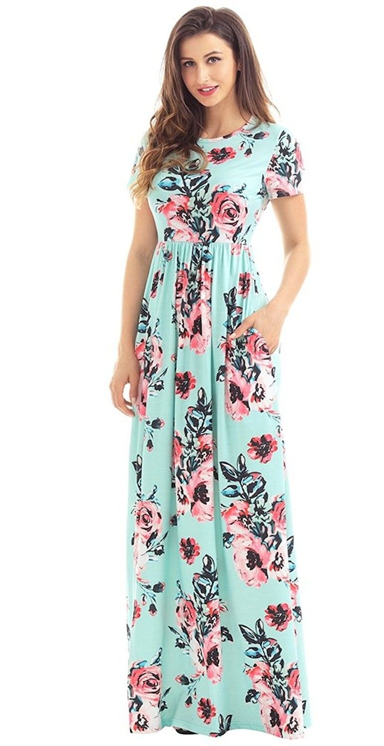 Women S Summer Casual Round Neck Ruched Short Sleeve Floral Maxi Dress With Pockets Mint Cn1838ywxtt Floral Maxi Dress Maxi Dress Womens Maxi Dresses [ 1500 x 772 Pixel ]
