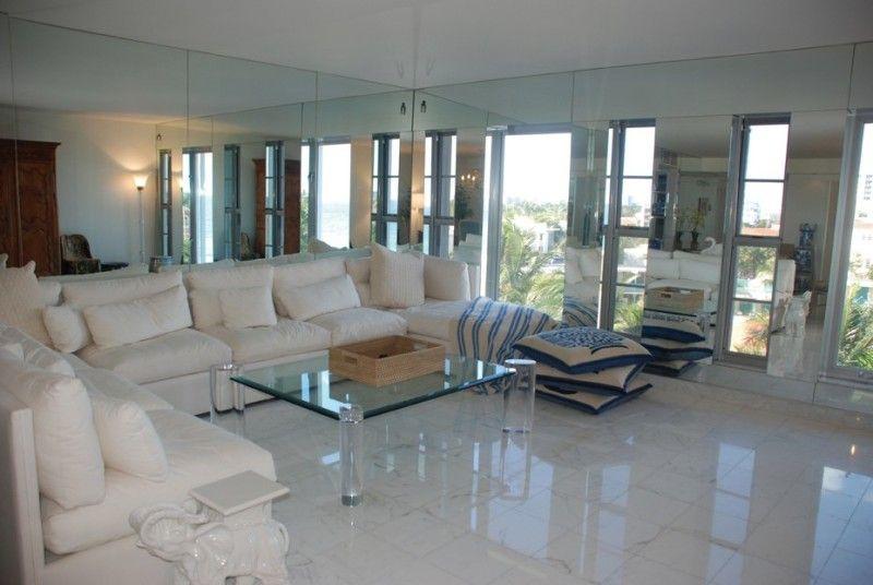 Fresh White Marble Floor Living Room