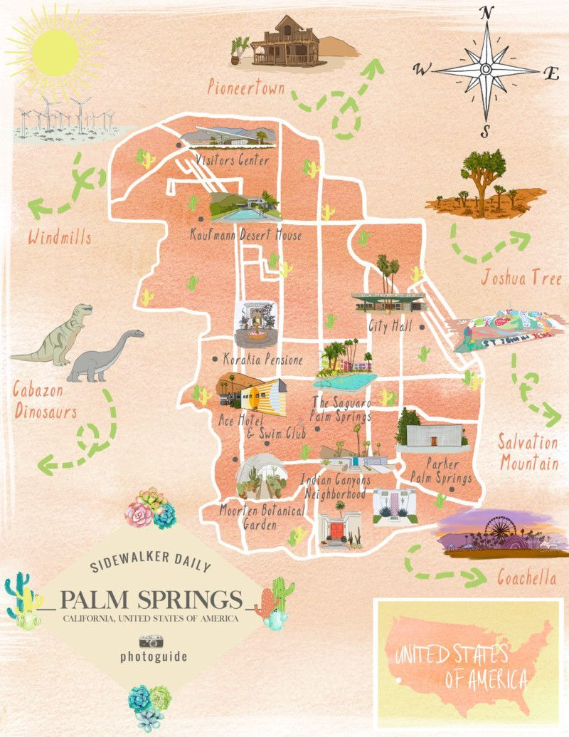 Map of the best Los Angeles Instagram spots Palm Springs