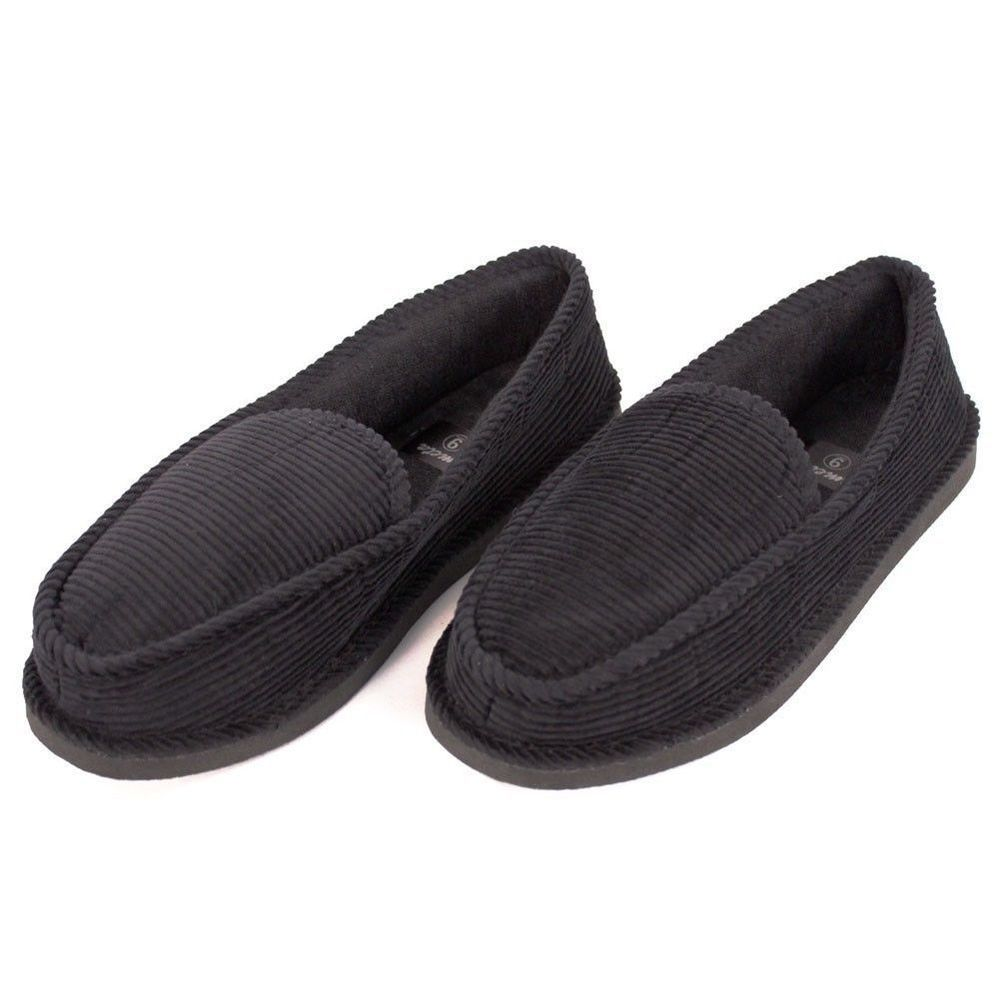 Incredible Details About Mens Slippers House Shoes Black Corduroy Interior Design Ideas Ghosoteloinfo