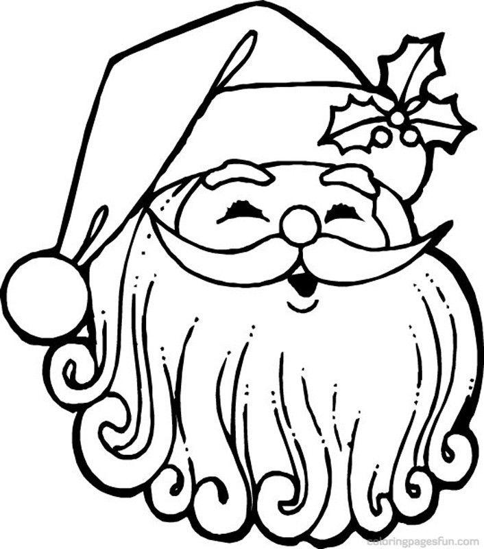 Santa Claus Face Coloring Pages - AZ Coloring Pages