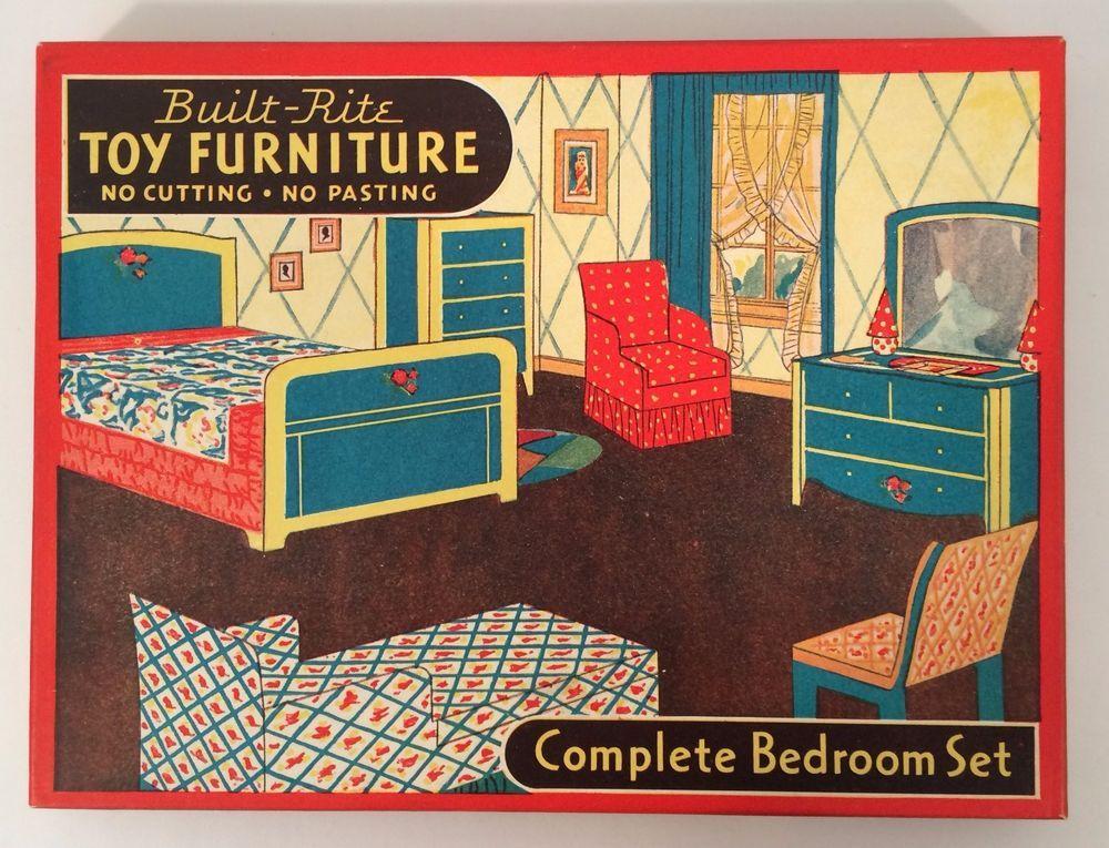 Etonnant Vintage Built Rite Toy Furniture Cardboard Mint In Box Bedroom Set #77  #BuiltRite