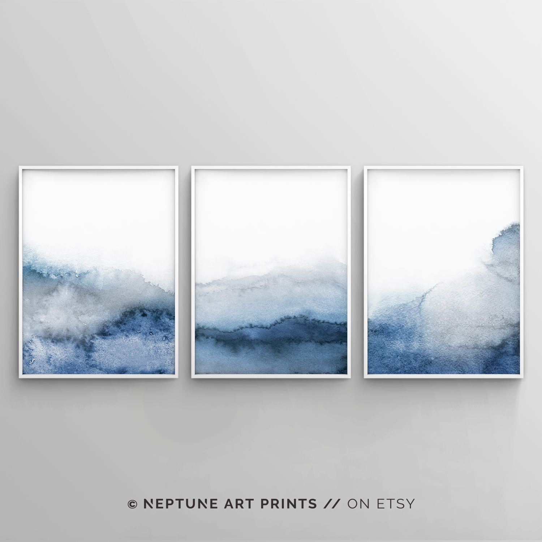 Set Of 3 Blue Gray Wall Art Printable Abstract Art Blue Grey Watercolor Print Blue Watercolor Neutral Art Simple Modern 3 Piece Art Grey Wall Art Blue Abstract Art Navy Blue Wall Art