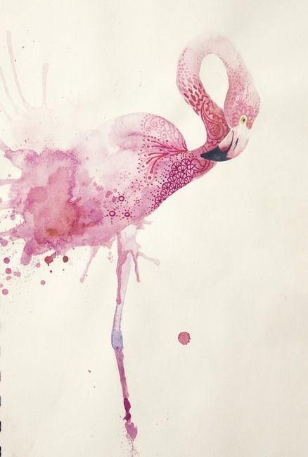 Cette Oeuvre Represente Un Flamant Rose Sur Un Fond Beige Il Est