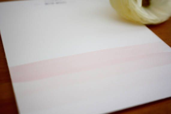 Personalized Letterhead Stationery Pink Watercolor Wash Custom