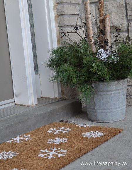 white christmas wreath doormat and outdoor planter arrangements life is a party