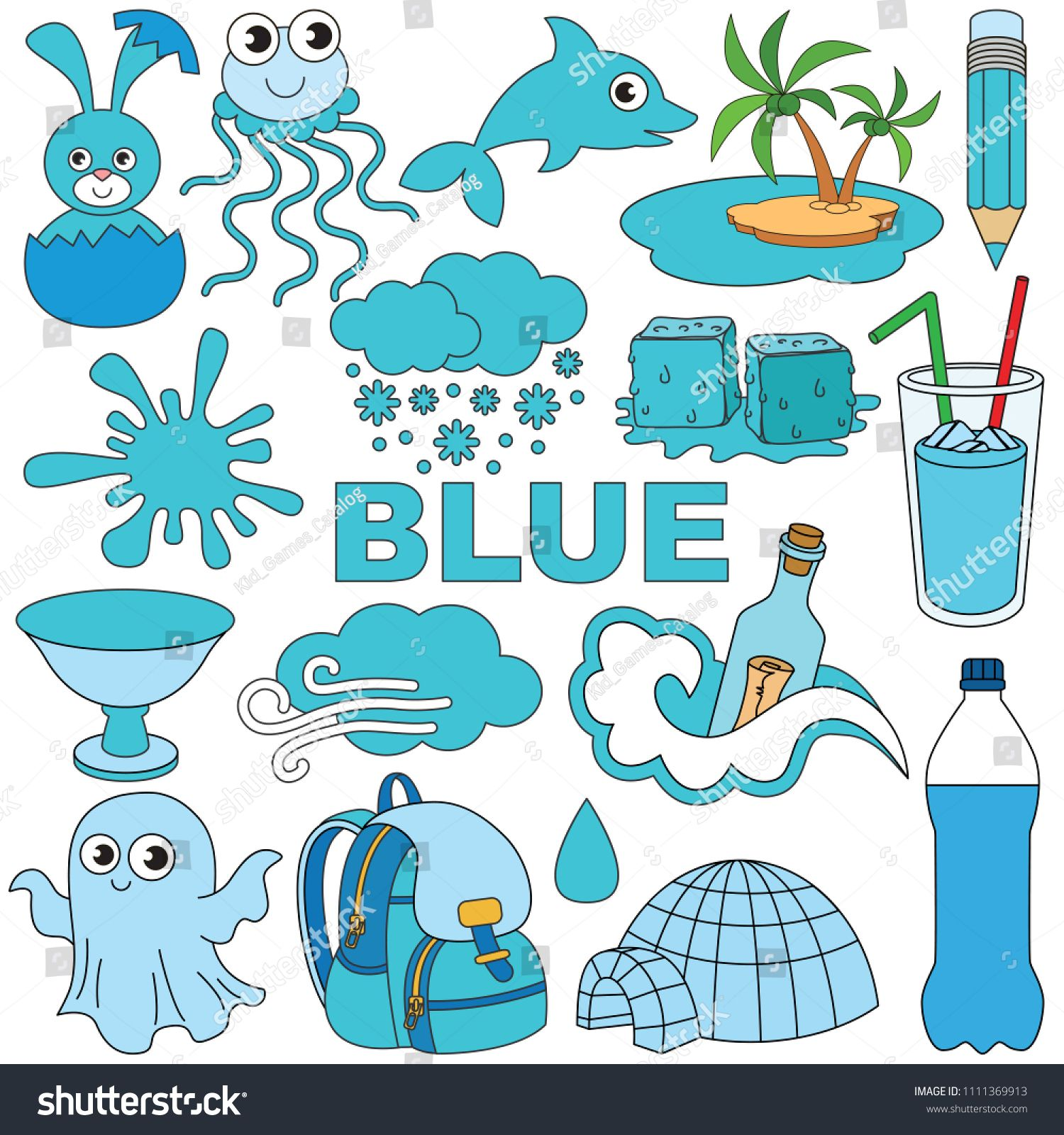 Blue Objects Color Elements Set Collection Of Coloring