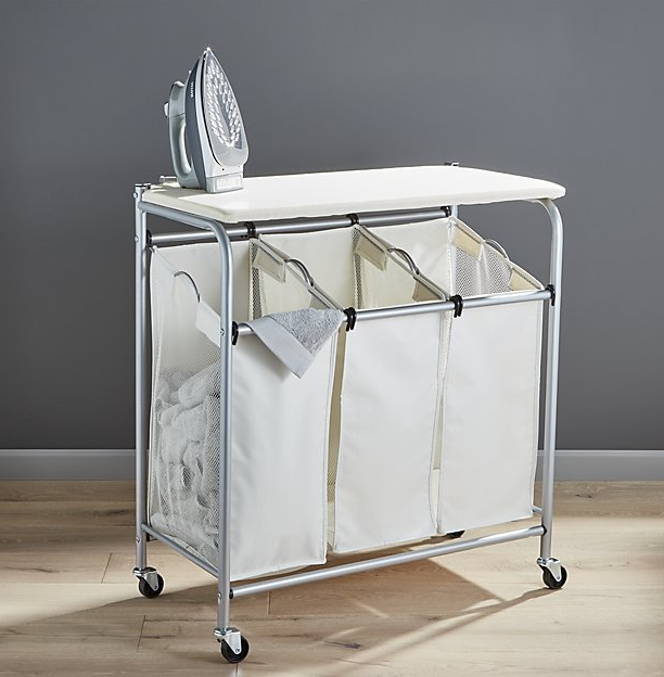 Triple Laundry Sorter With Ironing Board Reviews Crate And