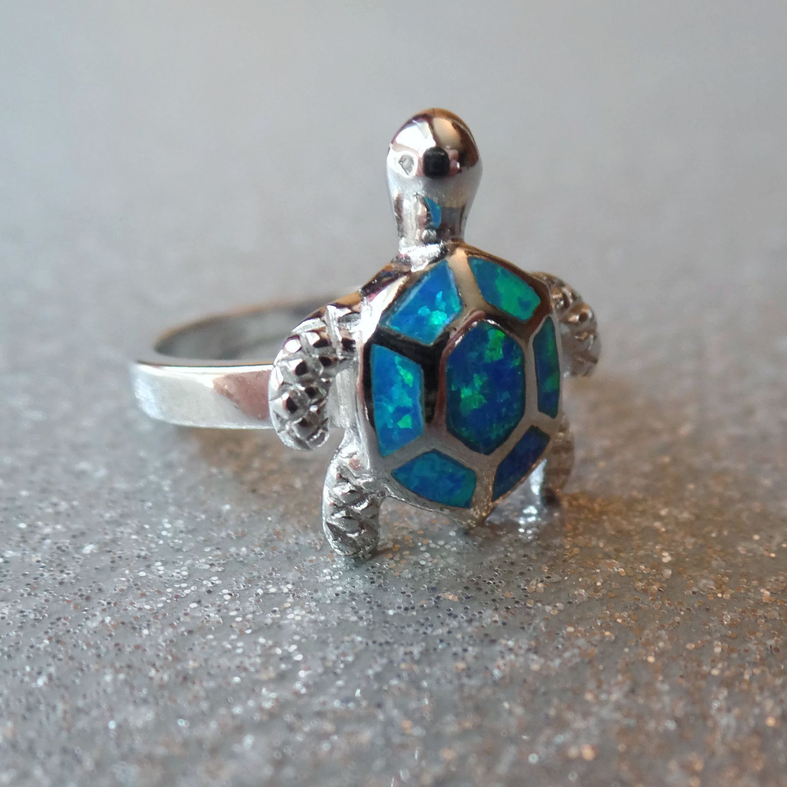 Sterling Silver Created Blue Opal Turtle Ring Jewelry