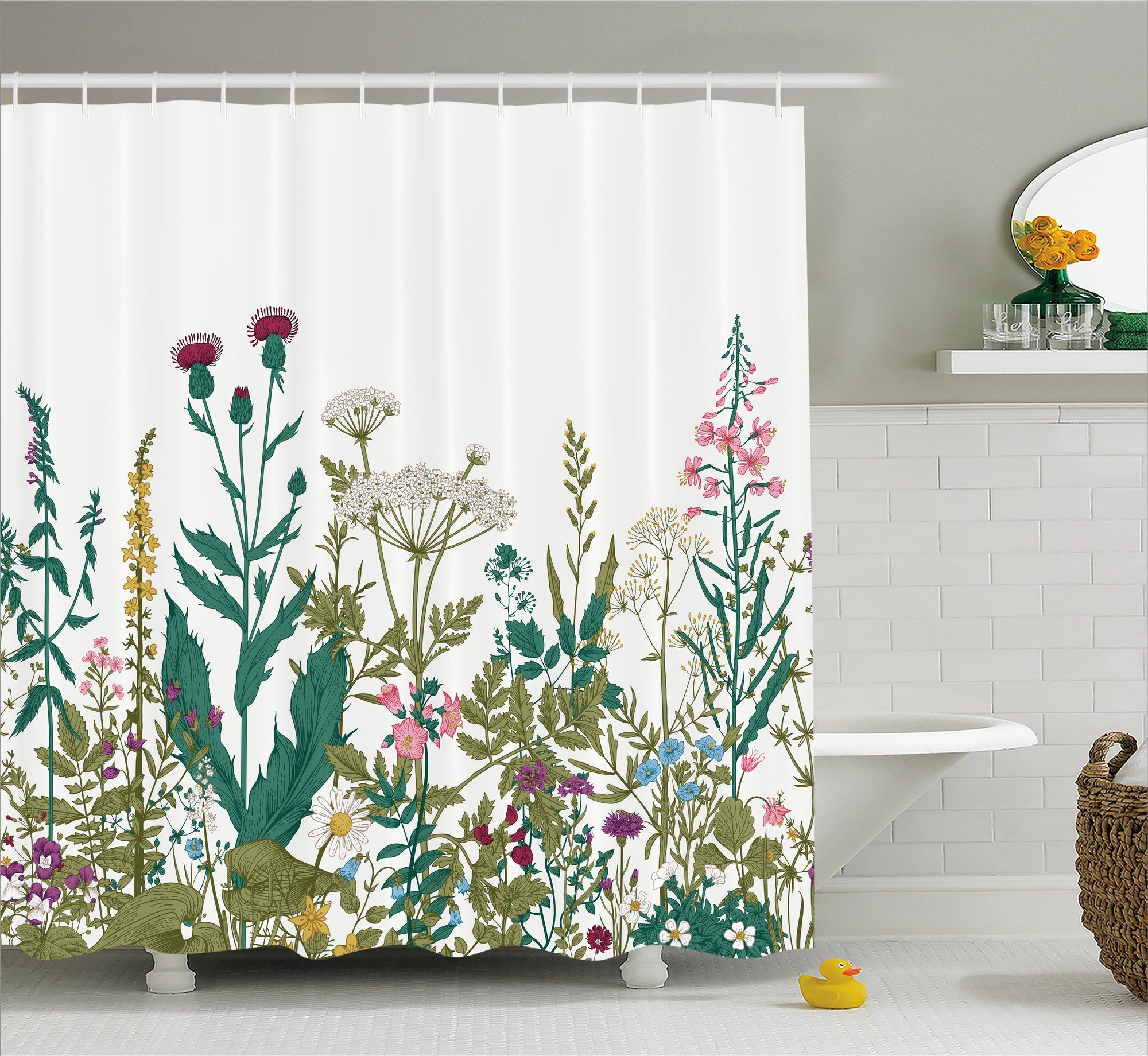 Brandee Flowers Leaves Shower Curtain Shower Curtain Floral