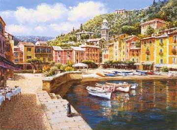 Harbor at Portofino, painted by S. Sam Park