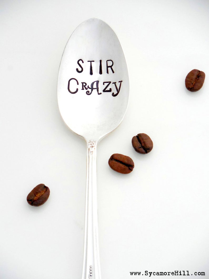love you a latte     coffee gift upcycled vintage spoon hand stamped silver Coffee spoon