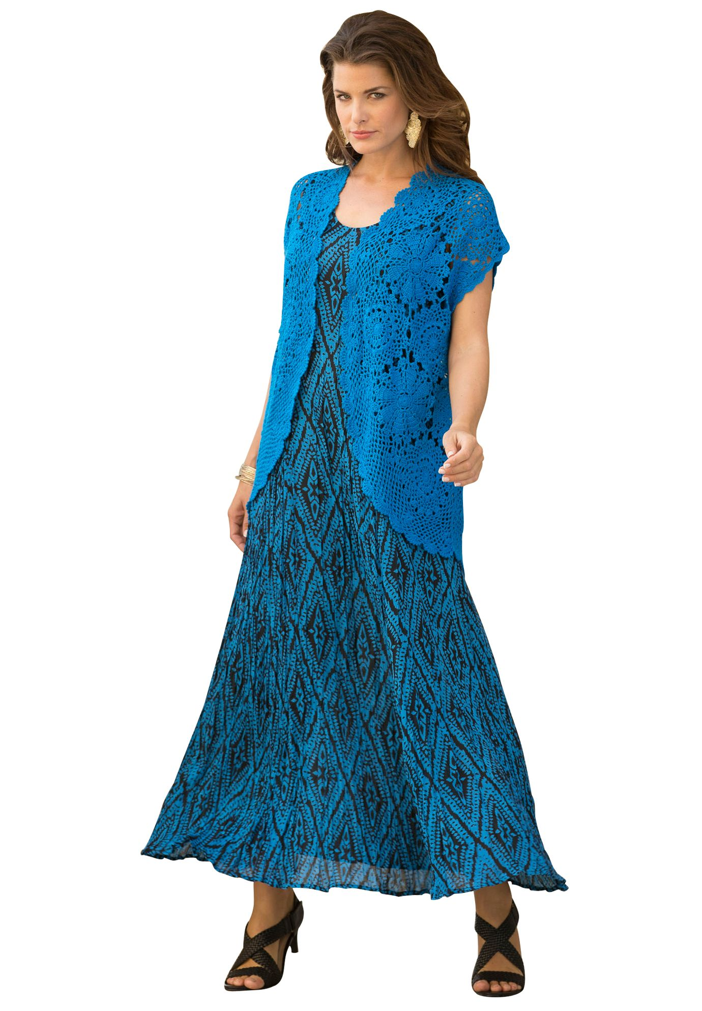 A Line Crinkle Maxi Dress Plus Size Dresses and Suits