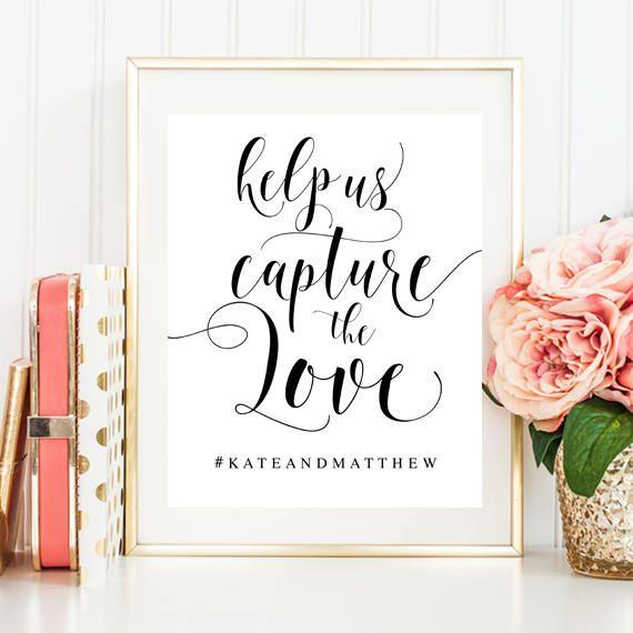 Wedding hashtag sign Editable template Wedding activities Help us