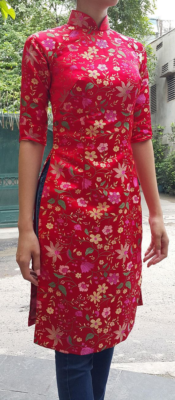 1075fc0938c Asian dress. Tunic style, knee length, low collar. red color brocade fabric