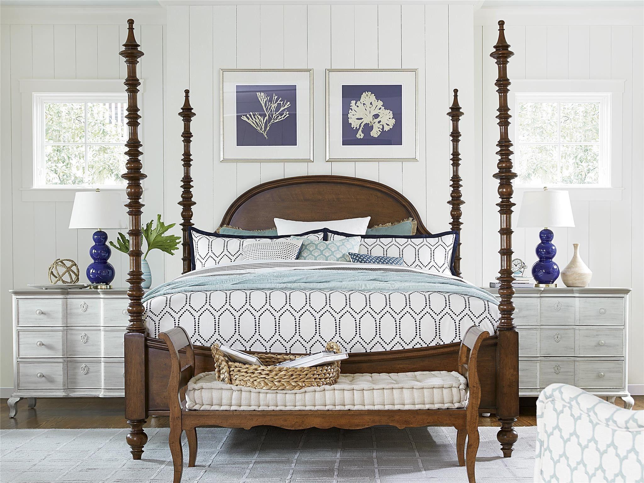 Paula Deen Dogwood Cal King Poster Bed Low Tide Finish