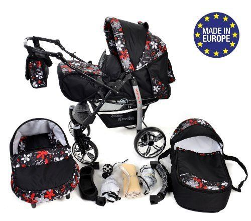 Car Seat Pushchair /& Accessories Baby Pram with Swivel Wheels 3-in-1 Travel System incl 3-in-1 Travel System, Black /& Leopard Sportive X2