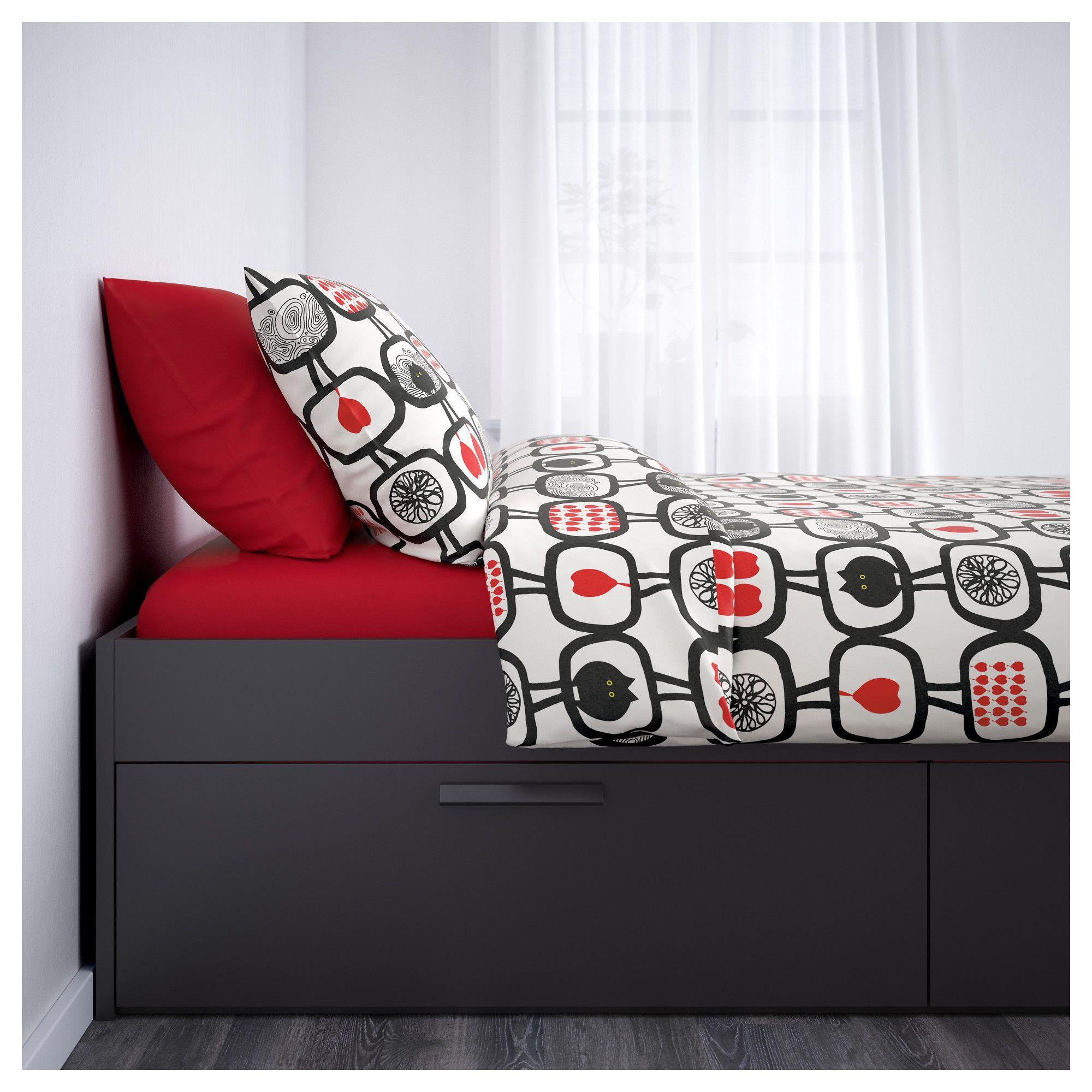 IKEA BRIMNES Bed frame with storage black Leirsund