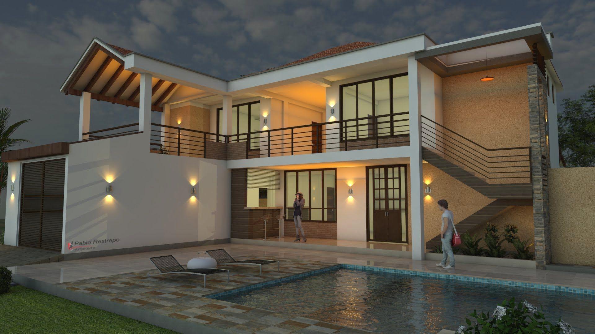Diseño casa moderna de dos pisos, cubierta a la vista, área 235 M2 ...