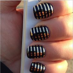 Jamberry Gold Metallic Pinstripe nail wraps over Professional Nail Lacquer in Black ~ http://salonfresh.jamberrynails.net