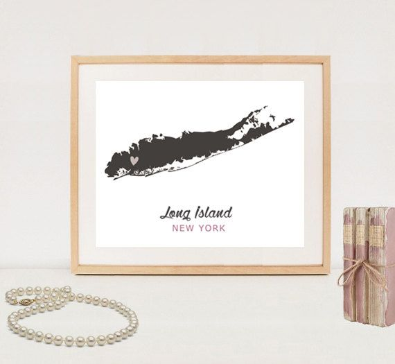 Printable Long Island New York map print Hometown NY love art