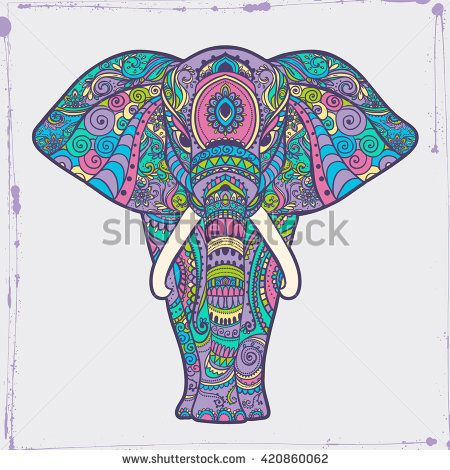 Greeting Beautiful card with Elephant Frame of animal made in vector ...