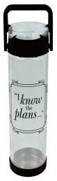 WATER BOTTLE:  I KNOW THE PLANS (WBT062). Available from CUM Books in South Africa.