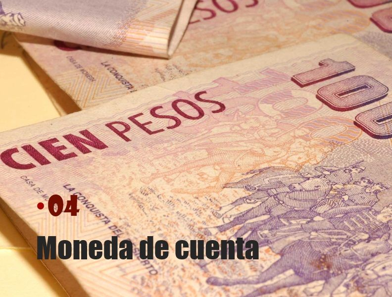 Generalmente se utiliza como moneda de cuenta el dinero que tiene curso legal en el país dentro del cual funciona el 'ente' y en este caso el 'precio' está dado en unidades de dinero de curso legal.