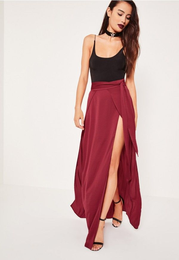 Get the layered look in this split front maxi skirt.
