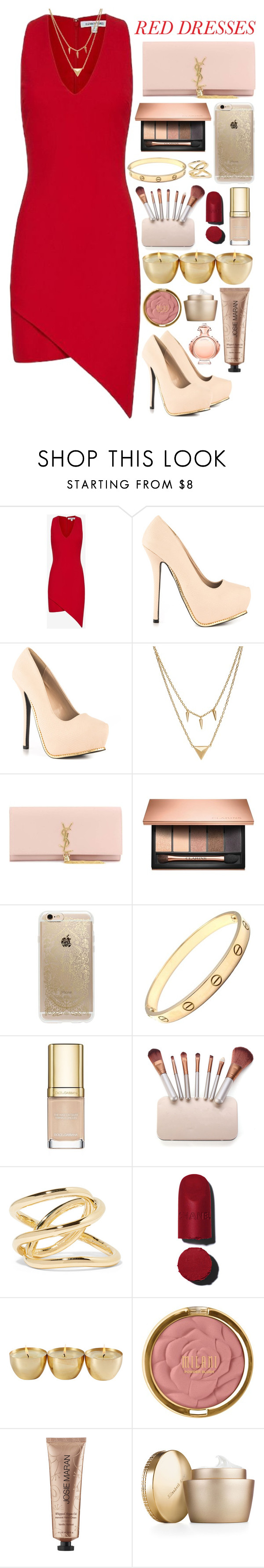 """""""red dress"""" by thelipglossgirl ❤ liked on Polyvore featuring Elizabeth and James, Qupid, Edge of Ember, Yves Saint Laurent, Clarins, Rifle Paper Co, Cartier, Dolce&Gabbana, Jennifer Fisher and Chanel"""