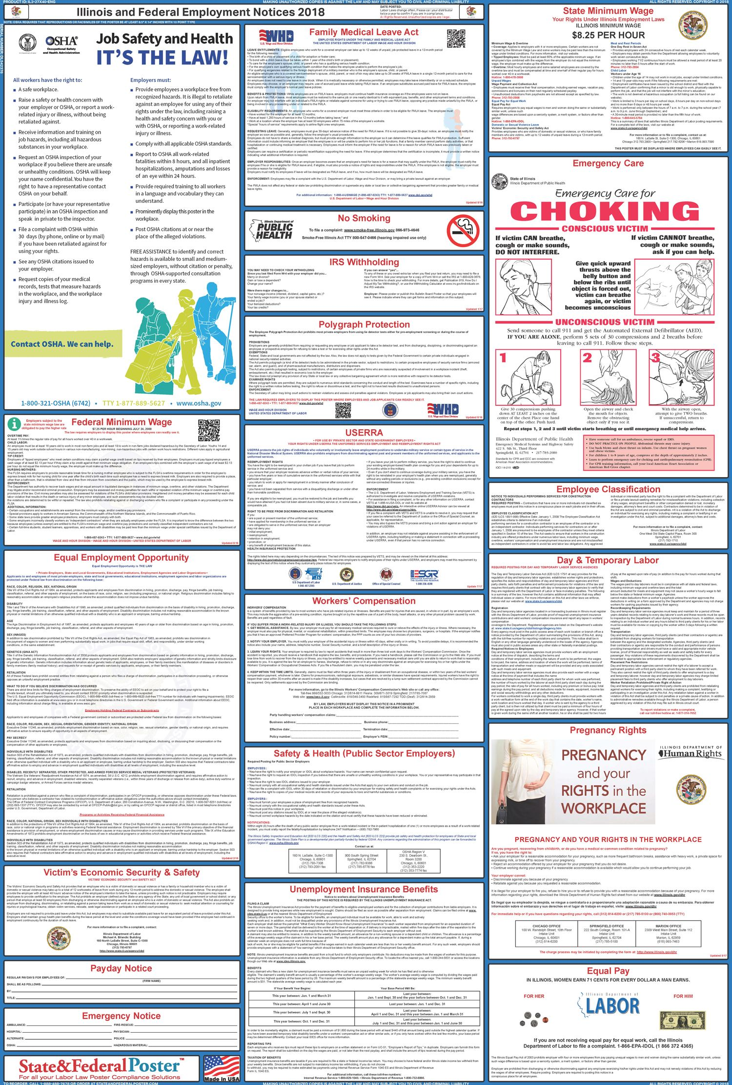 Illinois State And Federal Labor Law Poster 2017 2018 Labor Law