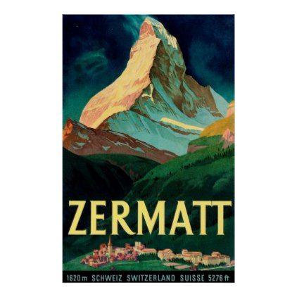 Zermatt Switzerland Matterhorn Vintage Art Poster Zazzle Com Vintage Ski Posters Vintage Poster Art Travel Art Print