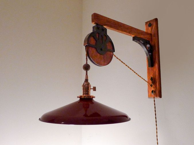 Barn pulley lamp Made of red oak with faux barn pulley ...