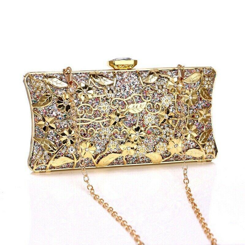Womens Sequin Clutch Bag Sparkle Evening Handbag