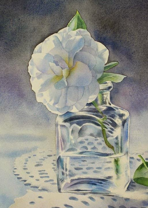 Barbara Fox Daily Paintings CAMELLIA STILL LIFE flower